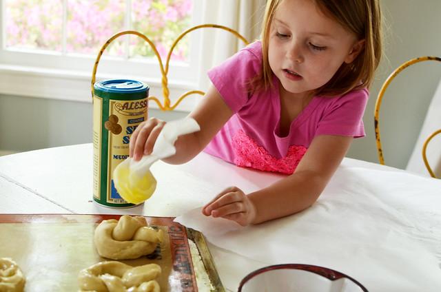 buttering pretzels