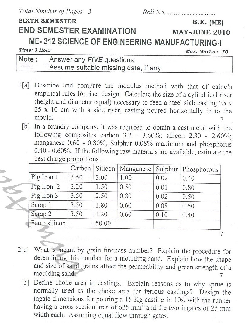 DTU Question Papers 2010 – 6 Semester - End Sem - ME-312
