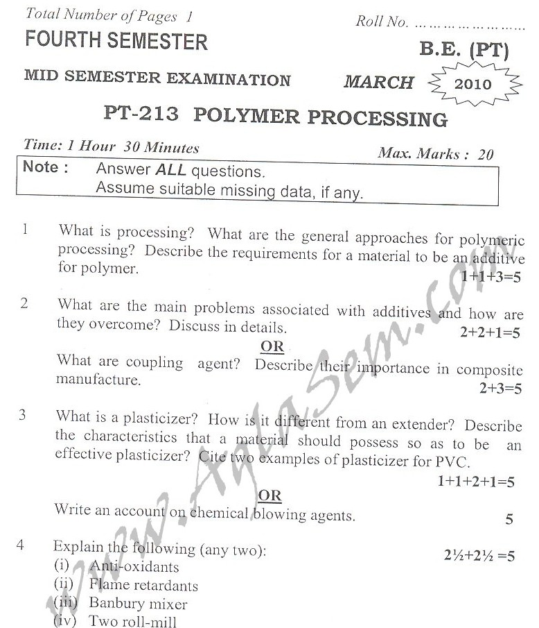 DTU Question Papers 2010 – 4 Semester - Mid Sem - PT-213