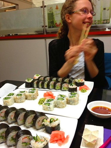 Seems we ordered way too much sushi for the birthday girl!