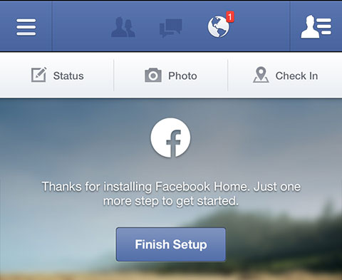 Facebook Home: Finish Setup
