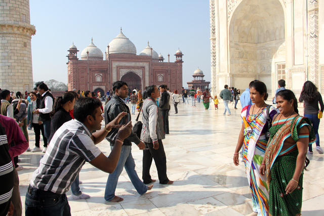 Photo taking is the most popular activity at the Taj Mahal!