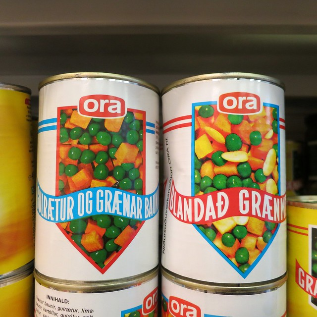 Ora brand canned vegetables, Iceland 2013