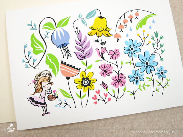Colorful Flower Garden Blank Card