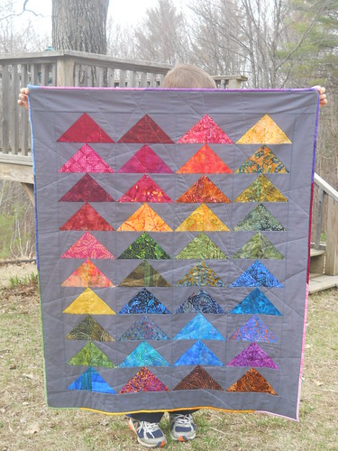 rainbow batik flying geese quilt