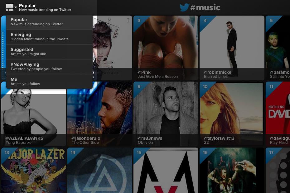 Twitter #music - Chart options
