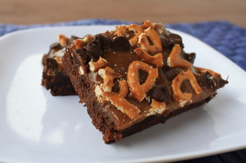 Caramel Pretzel Brownies from The Vegetarian Casserole Queen