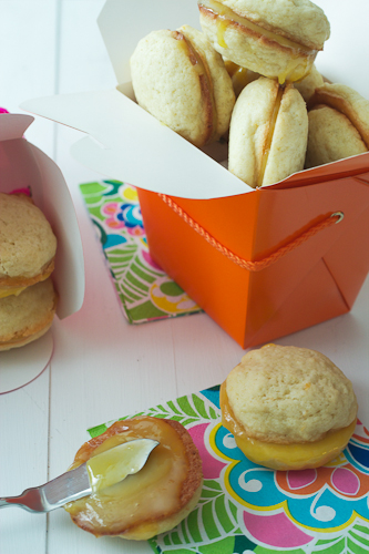 Lemon Sandwich Cookies with Pink Lemon Curd #SundaySupper
