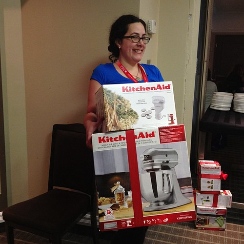 Isabelle and her new KitchenAid mixer