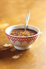 Spicy hot chocolate with orange zest
