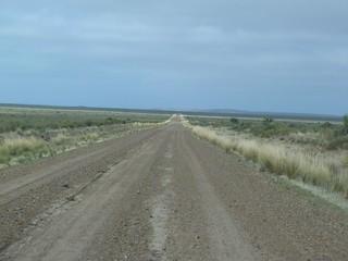 Carretera de ripio entre Puerto Madryn y Punta Ninfas (Patagonia, Argentina)