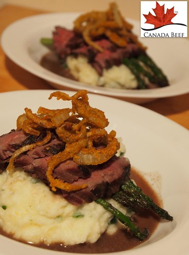 Chef John Placko's 48-hour bavette with parsley gel mash, seared asparagus and spicy crisp onion strings