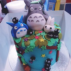 Can finally share this cake! Happy birthday @lisa_labs #lilypinkbakery #totoro #rainbowcake #totorocake