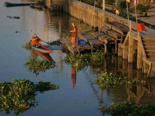 Monks and boat in Khlong Luang Phaeng at Wat Lamtoiting (วัดลำต้อยติ่ง)