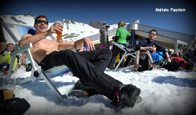 ski de printemps dans les Alpes lors du foehn et de la chaleur du 28 avril 2012 météopassion