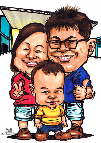 Family caricatures at Church of St. Mary of the Angels