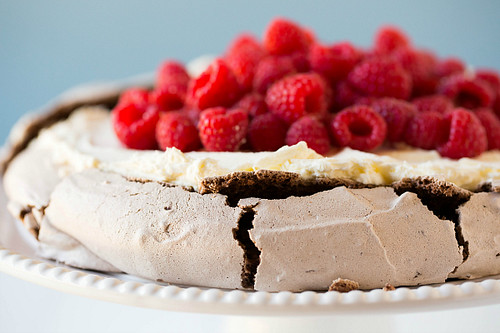 Crispy, crackly chocolate pavlova