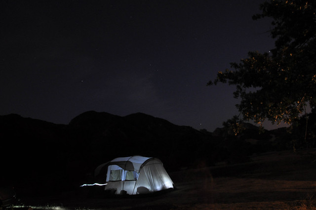 our new tent at night
