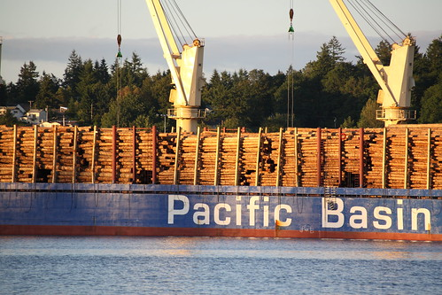 Loaded Log Carrier at Port of Olympia Marine Terminal