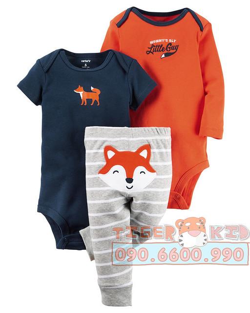 Quần áo trẻ em, bodysuit, Carter, đầm bé gái cao cấp, quần áo trẻ em nhập khẩu, 517-Set 3 món bé trai nhập Mỹ 3M-24M