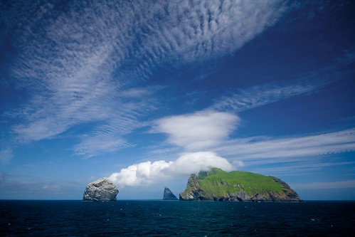 Clouds trailing off Boreray, St. Kilda, Scotland