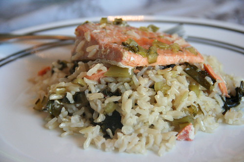 Lemon-Thyme Salmon with Brown Rice and Dandelion Greens