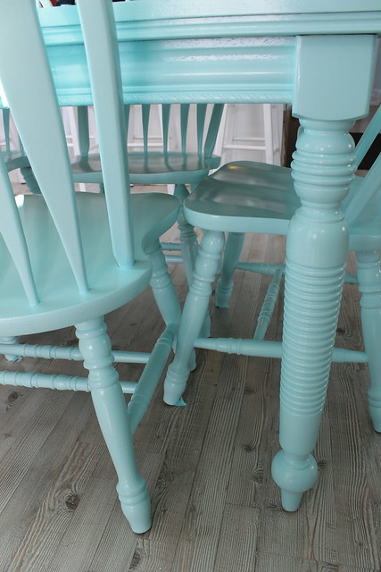 Beachy aqua table and chairs