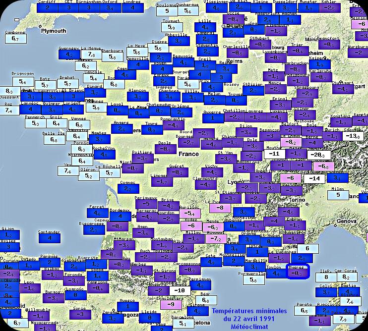 températures minimales et records de froid du 22 avril 1991 météopassion