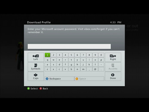 Xbox Password Dialogue