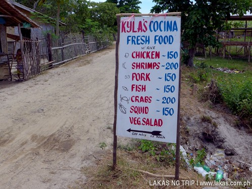 Kyla's Cocina Roadside Menu at Nacpan and Calitang Twin Beach in El Nido, Palawan