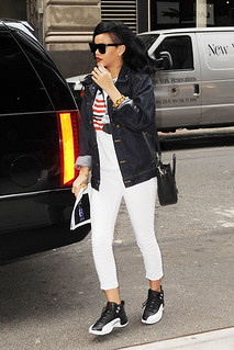 Rihanna White Trousers Celebrity Style Women's Fashion