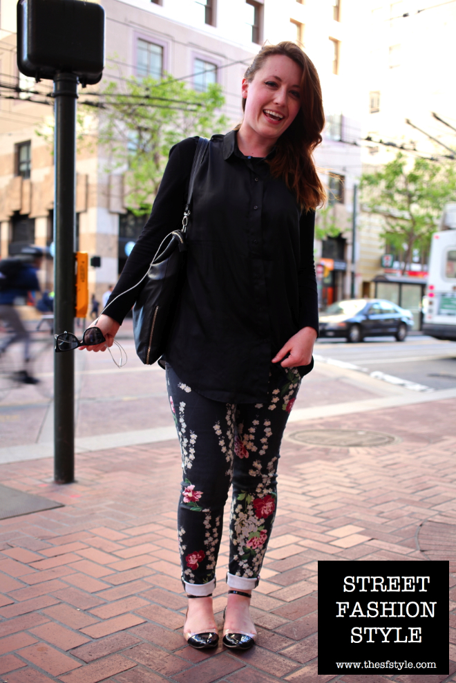 Side-swept hair, Floral Print Pants, floral print, floral, floral print jeans, floral print denim, san francisco fashion blog, street fashion style, thesfstyle,