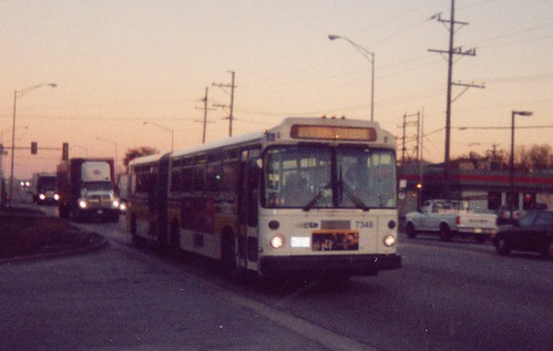 Chicago Transit Authority recently acquired secondhand M.A.N articulated transit buses from Seatle Washington.  Bridgeview Illinois.  October 2002. by Eddie from Chicago