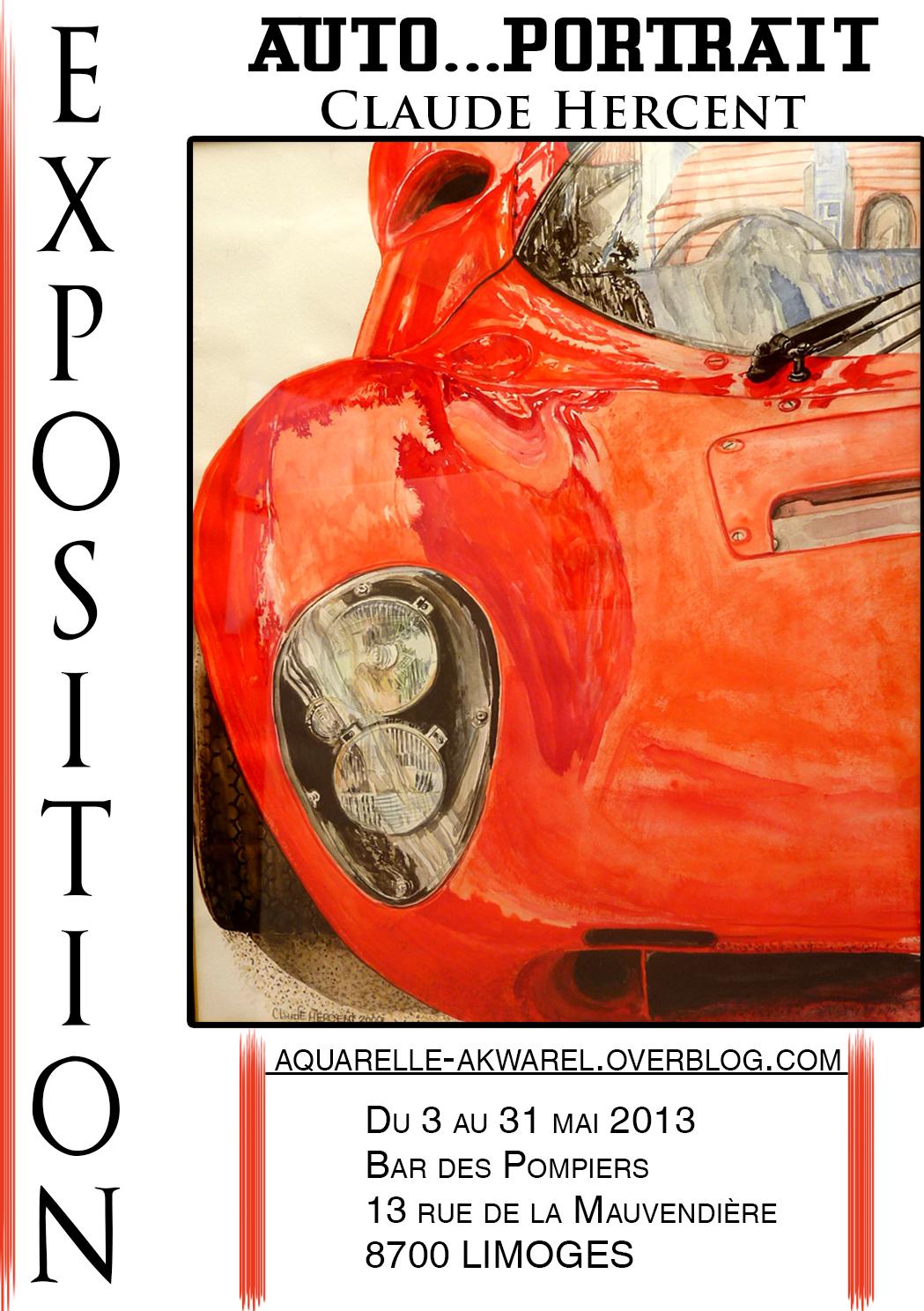 affiche pour mon expo : aquarelle Dino Ferrari 206 SP de 1966