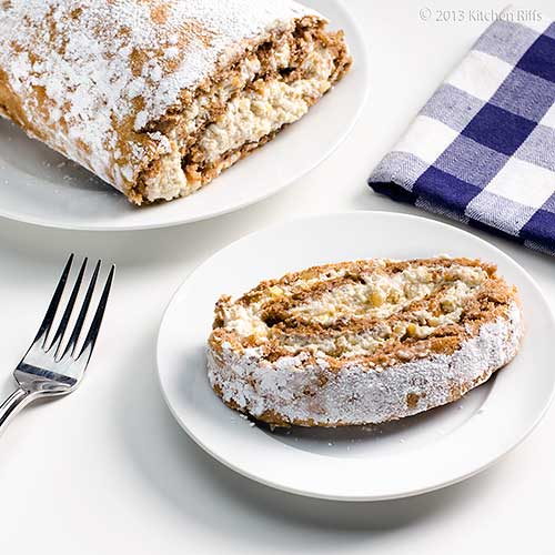Walnut Roll Cake on plate