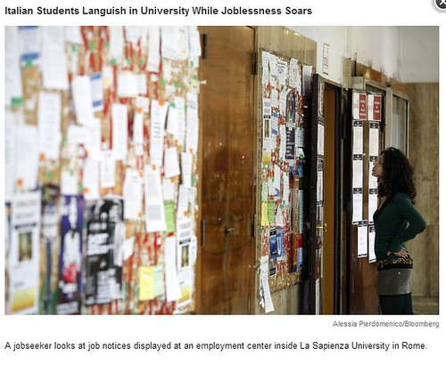 ITALIA ARCHEOLOGIA e BENI CULTURALI: Italian Students Languish in University While Joblessness Soars, BLOOMBERG NEWS (09/06/2013).