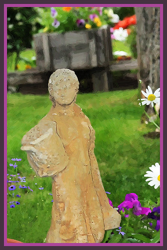 Garden Girl Statue - Garden Scene