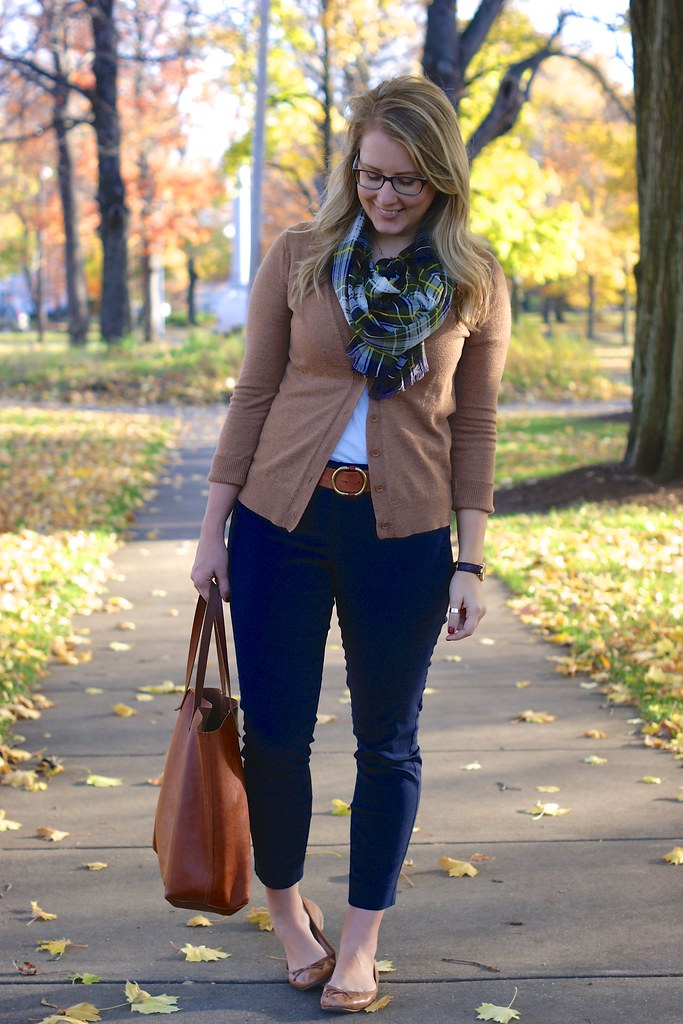 autumn colors: tan, navy, and green