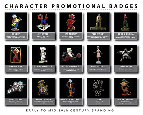 Early to Mid 20th Century Promotional Character Badges