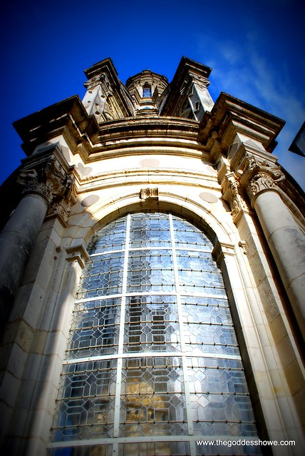 Leaded Tower window at Chateau de Chambord in the Loire Valley, France