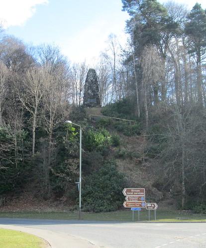 Dunkeld War Memorial from Road into Dunkeld