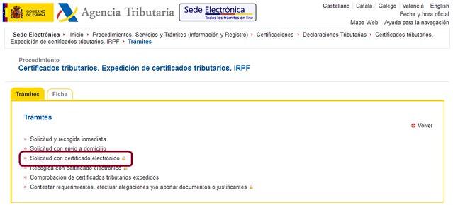 Acceso al trámite con certificado digital