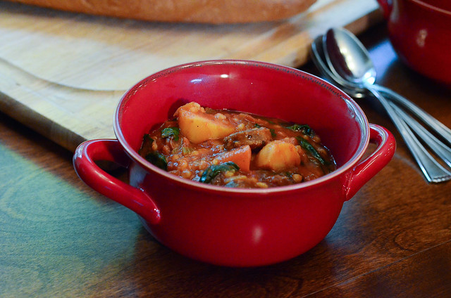 Italian Sausage and Barley Stew served in a bowl.