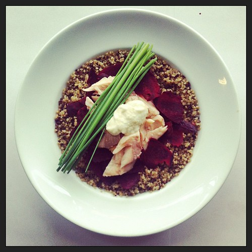 Salad of the day: Smoked trout, raw beetroot petals, horseradish cream, quinoa, chives, salad, by Salad Pride