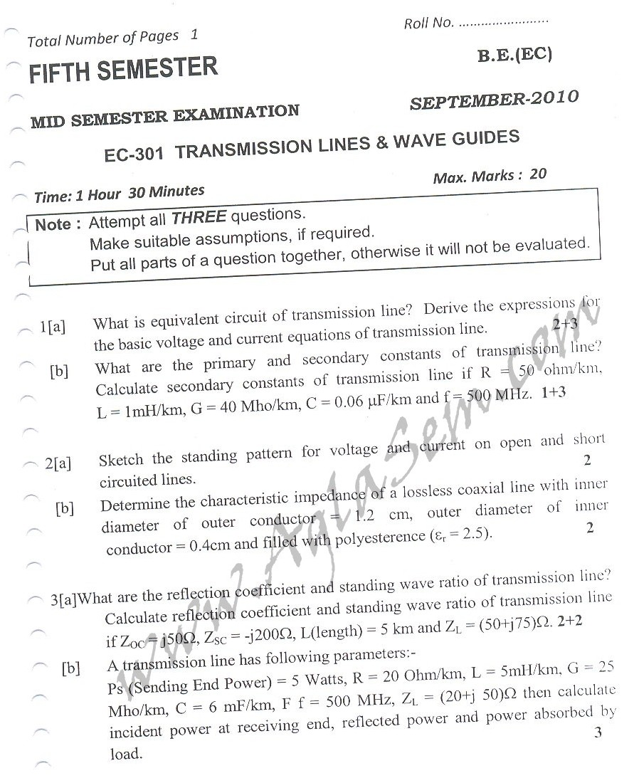 DTU Question Papers 2010 – 5 Semester - Mid Sem - EC-301