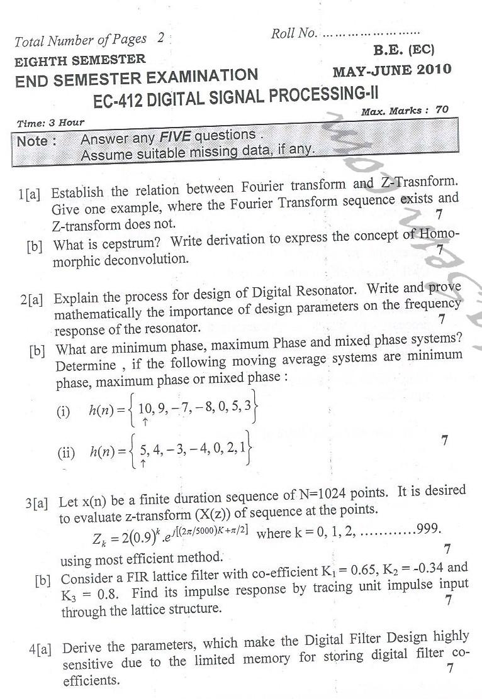 DTU Question Papers 2010 – 8 Semester - End Sem - EC-412