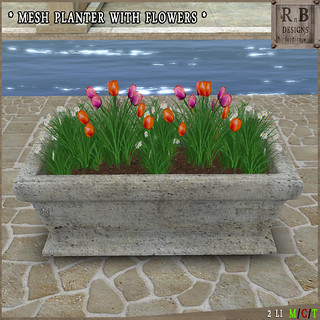 RnB Mesh Planter with Flowers - Orange-Purple Tulips