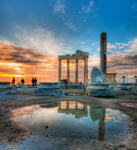 trip travel sunset vacation holiday reflection turkey temple side türkiye ruin antalya harabe günbatımı tatil yansıma turkei seyahat apollontapınağı
