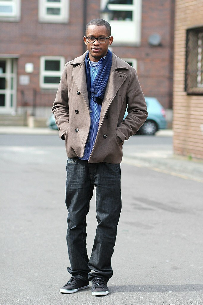Men's Pea Coat, blue striped shirt, scarf & jeans