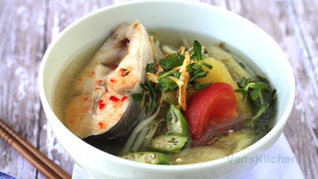 Vietnamese sweet and sour fish soup (Canh chua cá)